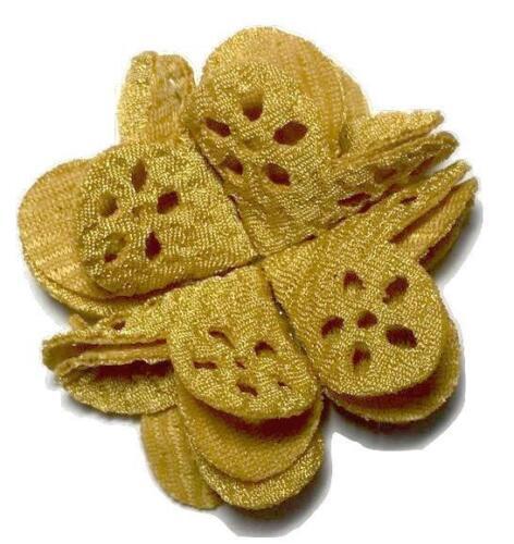 "3 pc Mustard yellow 2/"" hollow eyelet butterfly fold flower DIY headband supplies"