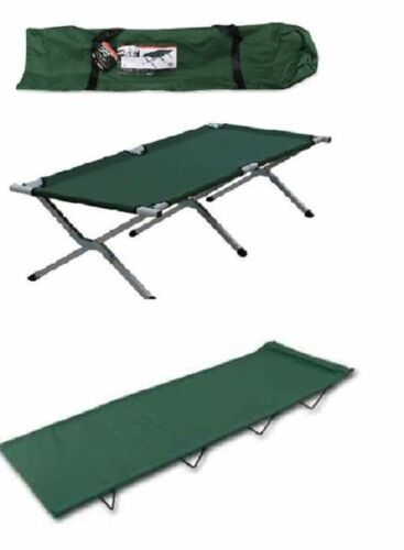 Folding Steel Framed Single Camping Bed with Carry Bag.