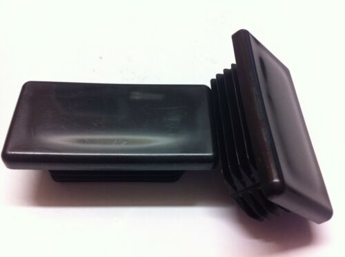 10 x Black Plastic Blanking End Tube Caps Insert Plug Bung Rectangle 60mm x 30mm