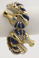ESTATE VINTAGE Jewelry RHINESTONE SEAHORSE NAUTICAL CLAMPER BANGLE BRACELET