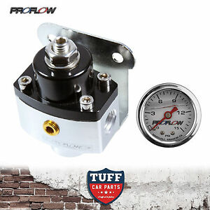 Proflow-13216-2-Port-Carby-Fuel-Pressure-Regulator-FPR-5-12-PSI-with-Gauge-New