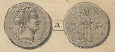 A4000 Moneta di Demetrio II Nicatore - Incisione - Stampa Antica del 1888
