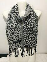 Cashmere Scarf Leopard Design Color White Super Soft Unisex