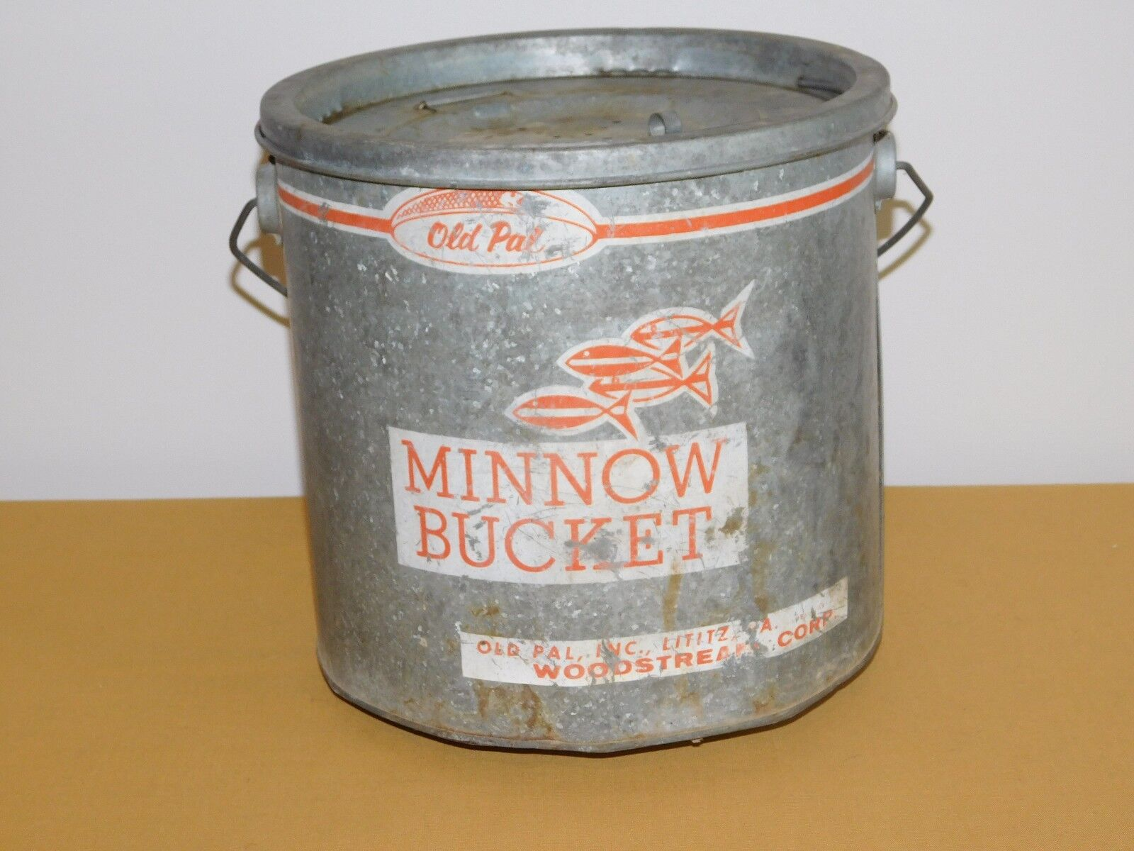 Pesca Vintage 9  Alto Old Pal Woodstream Metal Minnow Bucket
