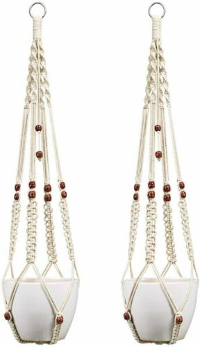 Plant Hanger Indoor Outdoor Hanging Planter Basket Cotton Rope w//Beads 35 Inch