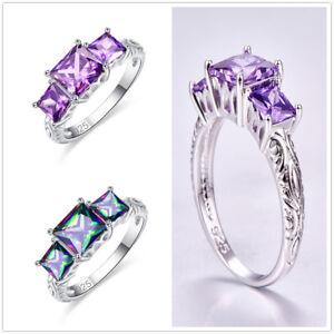 New-Rainbow-Topaz-amp-Amethyst-Three-Gemstone-Silver-Engagement-Ring-Size-6-7-8-9