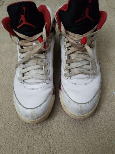 pretty nice efd0d 323e1 2013 Nike Air Jordan Retro 5 V Fire Red Black Tongue Size 9.5 136027-120  White