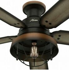 52 hunter bronze outdoor damp rated ceiling fan w light lodge 52 hunter bronze outdoor damp rated ceiling fan w led light lodge cabin mozeypictures Gallery
