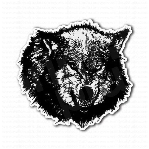 Angry Black Wolf Head Roaring Laptop Car Bumper Sticker