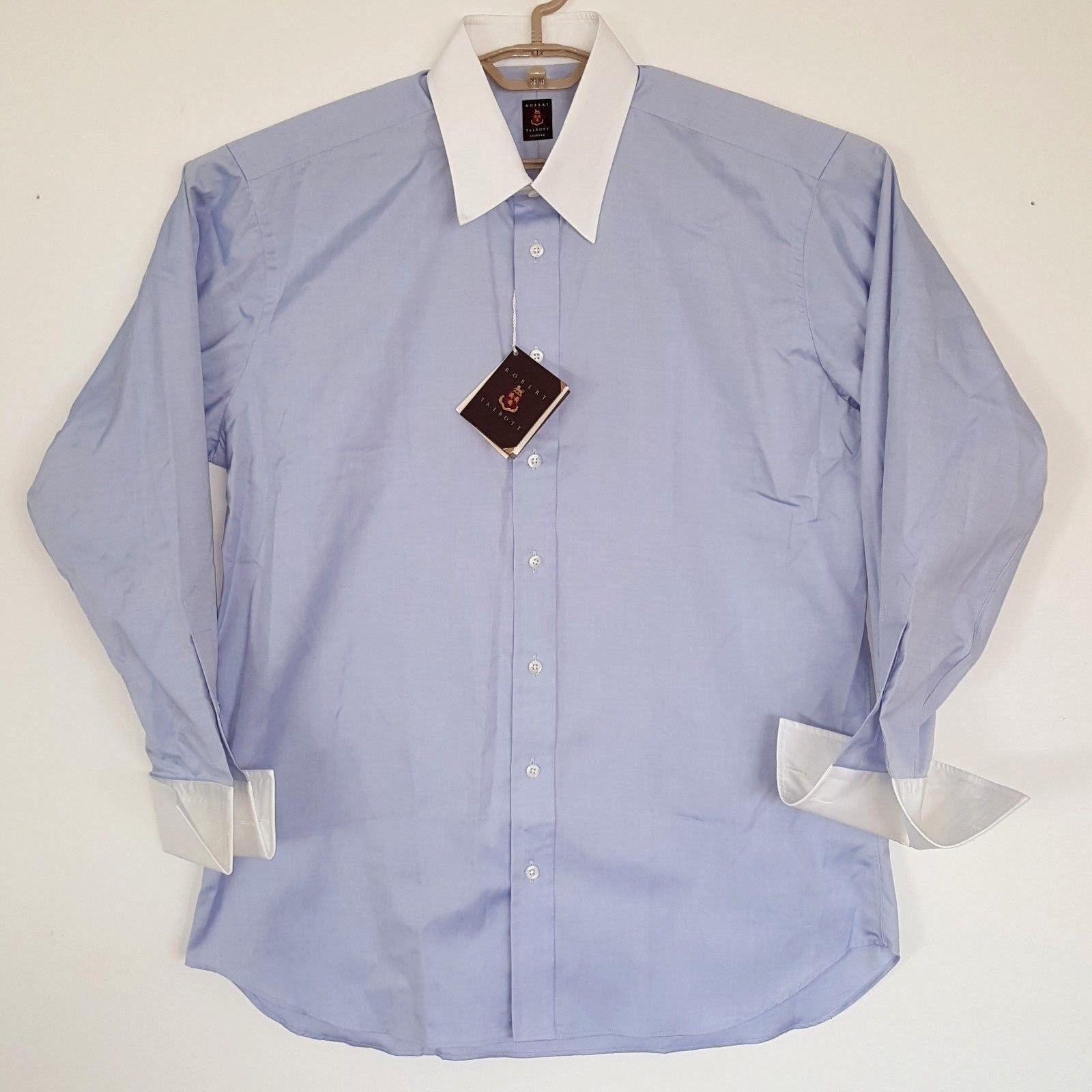 ROBERT TALBOTT Bespoke Sky bluee Cotton Linen Dress Shirt NWT