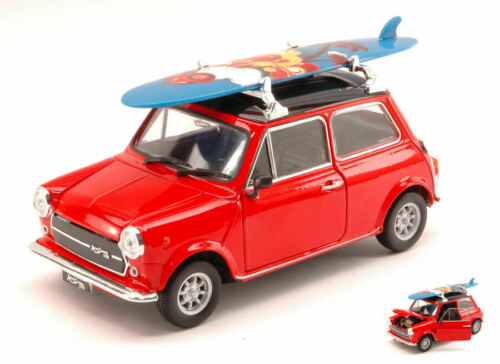 Mini cooper 1300 1974 with windsurf red w//black roof 1:24 auto stradali scala