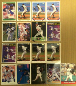 PEDRO-MARTINEZ-LOT-of-17-rookie-insert-base-cards-NM-HOF-1992-2001-red-sox-RC