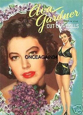 VINTAGE UNCUT 1949 AVA GARDNER PAPER DOLLS~8 PAGE VERSION~#1 REPRODUCTION~RARE!