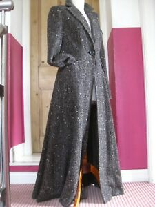 Ladies-M-amp-S-PER-UNA-brown-wool-tweed-long-COAT-UK-10-8-victorian-riding-fit-flare