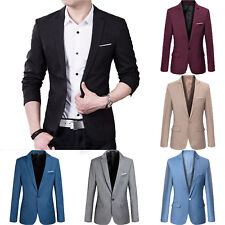 Men's Casual Slim Fit One Button Suit Blazer Business Work Coat Jacket Outwear