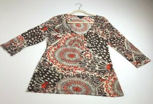 Rockmans-Women-s-Long-Sleeve-Blouse-Top-Large-L-Multicolor-Floral-Sheer-Funky