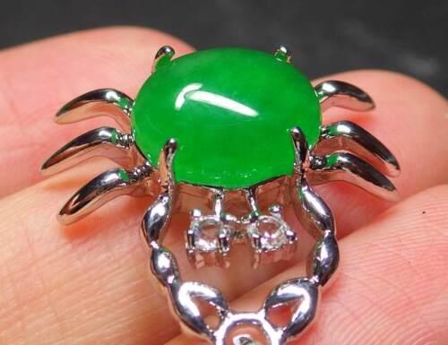 Or blanc plaque Icy vert jade Pendentif Crabe Diamant Imitation chaîne 3200899