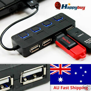 4-Port-USB-2-0-HUB-Compact-amp-Slim-For-PC-Laptop-Mac-500mA-Output-Power-Plug-Play