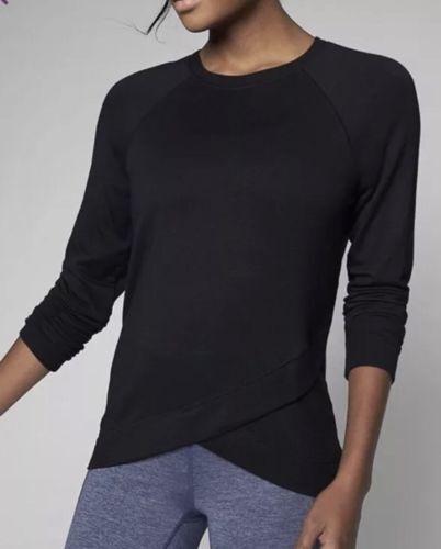 ATHLETA Criss Cross Sweatshirt Black Women Size XXS New