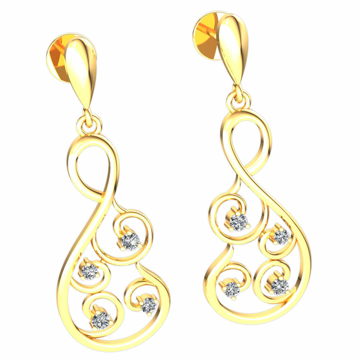 Genuine 0.1ctw Round Cut Diamond Ladies Infinity Designer Earrings 14K gold