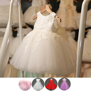 Toddler Baby Kid Girl Princess Party Wedding Lace Flower Tulle Dresses 12M-8Y