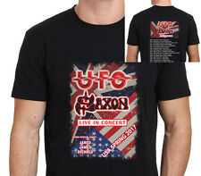 UFO and Saxon 2017 Tour W/ Schedulle Men's Black T-Shirt Size from:XS-to-XXL