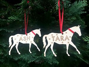 image is loading personalised christmas decorations horse pony xmas tree decoration - Horse Christmas Decorations