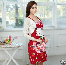 1PC New Hello kitty Red cute cartoon canvas aprons womens kitchen aprons Gift