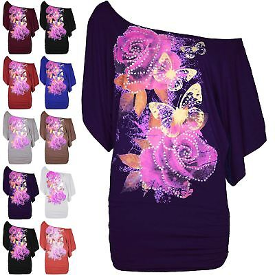 LADIES BAGGY BATWING SLEEVED BUTTERFLY PRINT OFF SHOULDER TOPS 8 10 12 14 16 NEW