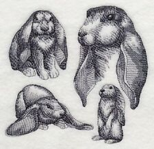 """9  x 12"""" Embroidered  Cotton Quilt Block - English Lop Sketch"""
