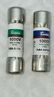 1 EACH DMM-44//100 AND 1 EACH DMM-11A BUSS BUSSMANN FUSE 1000 VAC DC