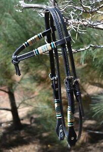 Jose-Ortiz-Black-Cross-Over-Browband-Headstall-w-Natural-Turquoise-Rawhide