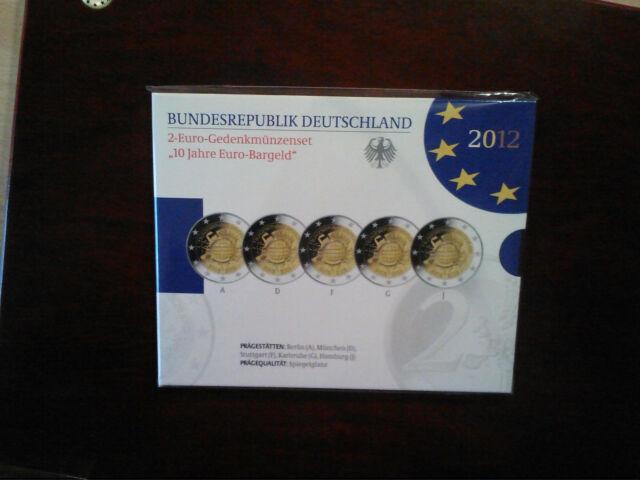 DEUTSCHLAND 2 EURO GEDENKMÜNZENSET A-J  2012 10 JAHRE EURO BARGELD PP
