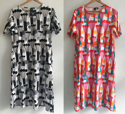 Uniqlo x Marimekko Graphic Short-Sleeve T-Shirt Dress Pompula Pattern XS S  | eBay
