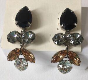 Sorrelli Crystal Lotus Flower Earrings Black Amber Clear Pierced