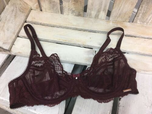 BB-1 EX M/&S LADIES ORNAMENTAL EMBROIDERED NON-PADDED BALCONY BRA IN PURPLE MIX