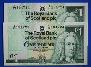 "2x 2001 Royal Bank of Scotland plc £1 One Pound ""C"" banknote CONSECUTIVE [21852]"