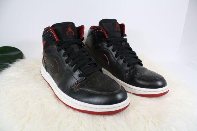 Nike Air Jordan 1 Mens Size 9 Black Red Mid Athletic Shoes Sneakers 554724 028