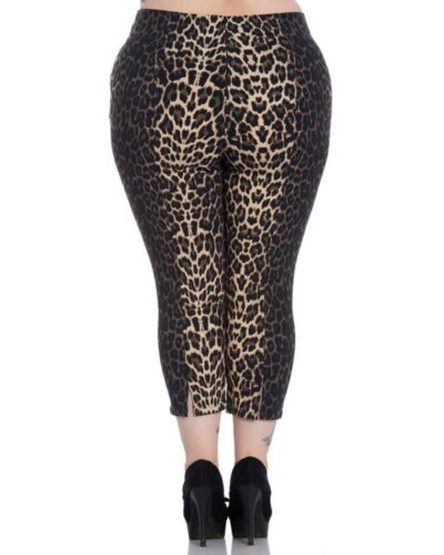 Uk Capri Plus Panther Pantalone Pantaloni Xxl Size Pantera 18 Stretch Leopard c0q6gpU