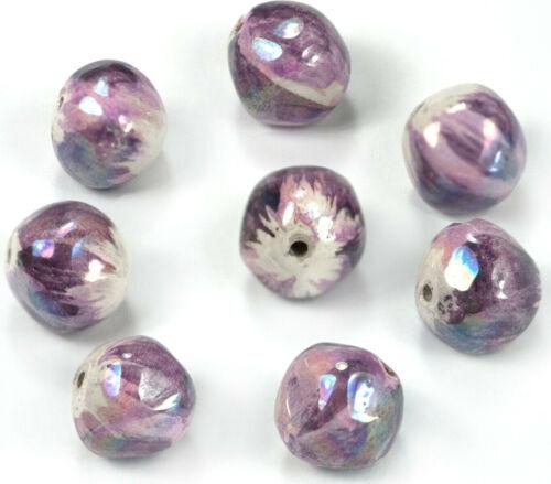 RARE Unusual Purple Ceramic Beads Vintage 1950s Italian Irridescent 3 SIZES