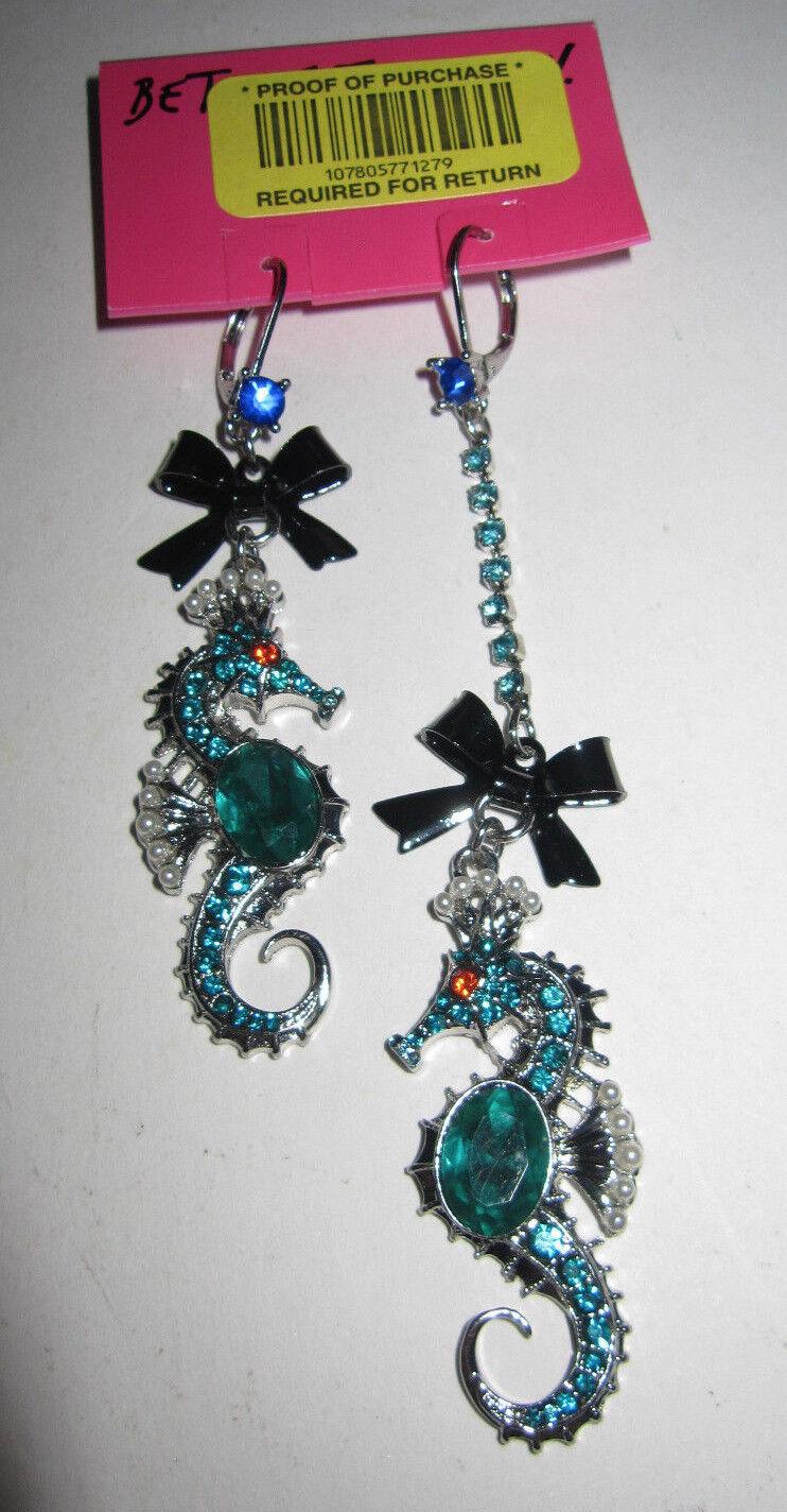 BETSEY JOHNSON ICONIC blueE SEA SEA HORSE DANGLE EARRINGS