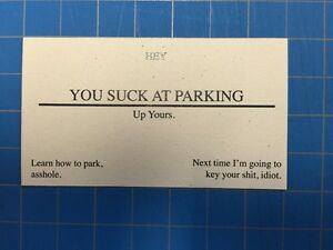 You suck at parking offensive business cards pack of 25 ebay image is loading you suck at parking offensive business cards pack colourmoves