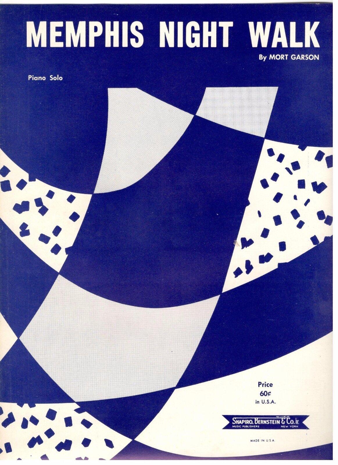 MEMPHIS NIGHT WALK  PIANO SOLO SHEET MUSIC-1959-BRAND NEW-RARE-MINT CONDITION
