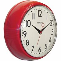 Red Retro Kitchen Wall Clock 9.5 Diameter Battery Operated Vintage Analog