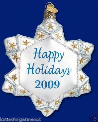 2009 HOLIDAY SNOWFLAKE OLD WORLD CHRISTMAS GLASS COLLECTOR ORNAMENT NWT 36113