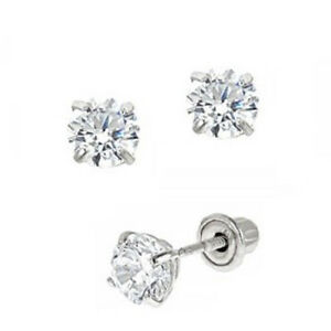 Details About 4mm Round Cz Stud Earrings For Baby Toddler In 14k White Gold With Backs