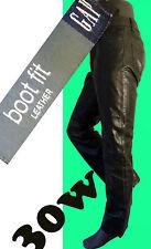 GAP leather jean biker black 30 boot cut bdsm motorcycle cowboy pant