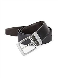 NEW-IKE-BEHAR-BLACK-SAFFIANO-TO-BROWN-SMOOTH-REVERSIBLE-LEATHER-DRESS-BELT-34-36