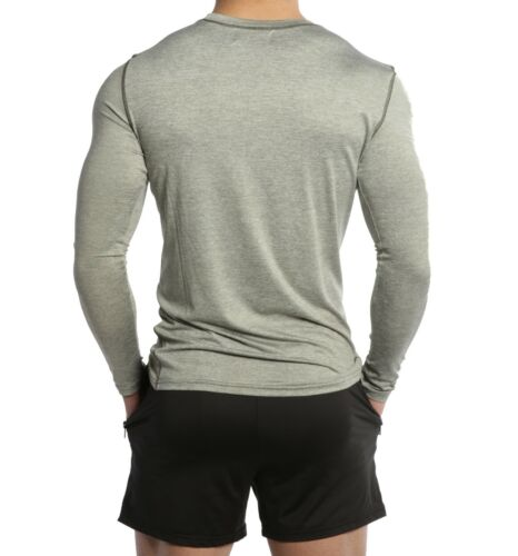 Men/'s Long Sleeve Compression Tee Muscle Bodybuilding Workout Slim Fit T Shirt