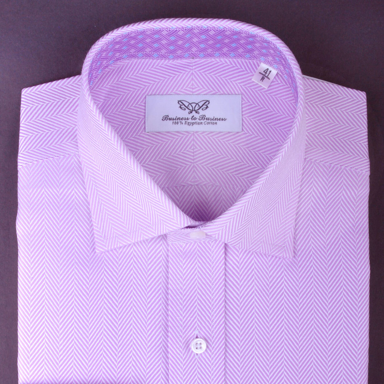 lila GEOMETRIC Formal & Geschäft Dress Shirt Herringbone Tight Luxury Weave GQ